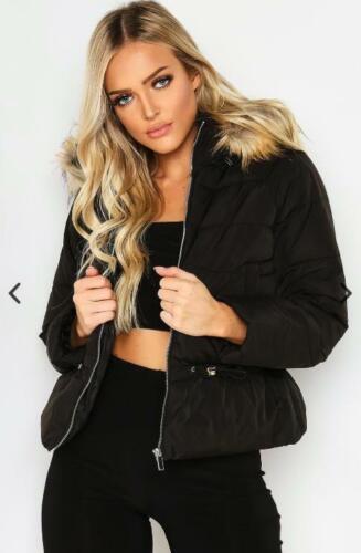 Women Ladies New Short Warm Padded METALLIC FAUXFUR Hood Puffer Coat//Jacket 7079