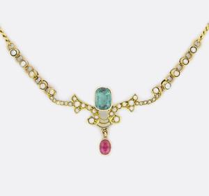 Victorian-9ct-Oro-Amarillo-Collar-Colgante-Perla-semilla-de-turmalina-y