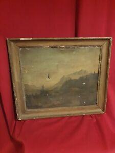 Ancienne-peinture-paysage-de-montagne-huile-sur-toile-XIX-eme-s