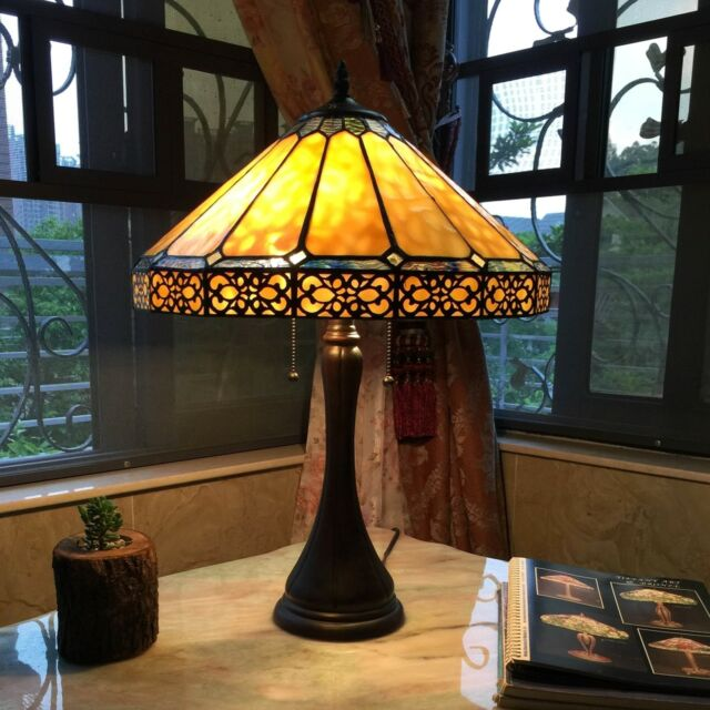 Tiffany Style Mission Arts Crafts Stained Glass 23 Table Desk Lamp 14 Shade For Sale Online Ebay