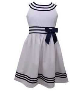 f8f9704a5b8c BONNIE JEAN Little Girls U Neck Traditional White Navy Sailor Dress ...