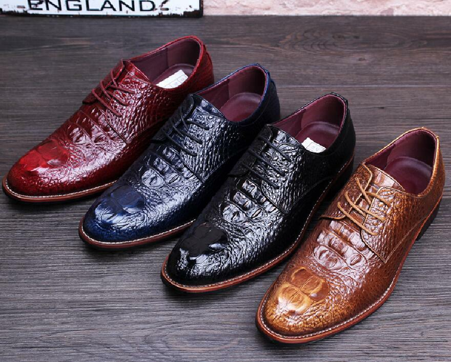 Vintage Lace Up Casual Leather Alligator Croco Casual Dress Business Boot shoes