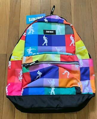 """New Fortnite Amplify Backpack Multicolored 18"""" School Book Bag Laptop Rainbow"""