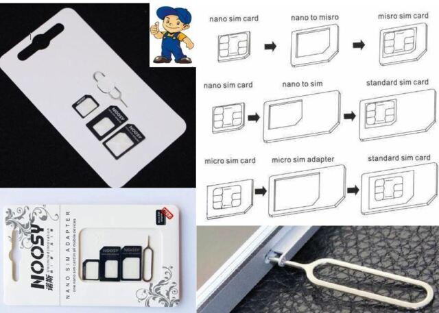 Nano SIM Set 4in1 Micro SIM Pin Nadel Karten Adapter Für Wileyfox swift