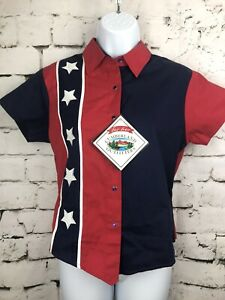 Cumberland-Outfitters-Women-American-Flag-Western-Pearl-Snap-Shirt-Small-NWT