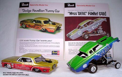 Revell Dodge Revellion /& Miss Deal Funny Car Dealer Sell Sheet Reprints Set.