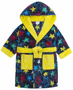 Boys-Dressing-Gown-Star-Print-Soft-Touch-Fleece-Hooded-Robe-Ages-2-3-4-5-6-Years