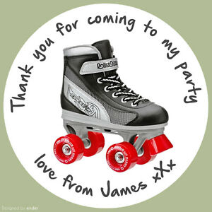 Personalised-Roller-Skate-Birthday-Party-round-stickers-labels-party-cone-sheet