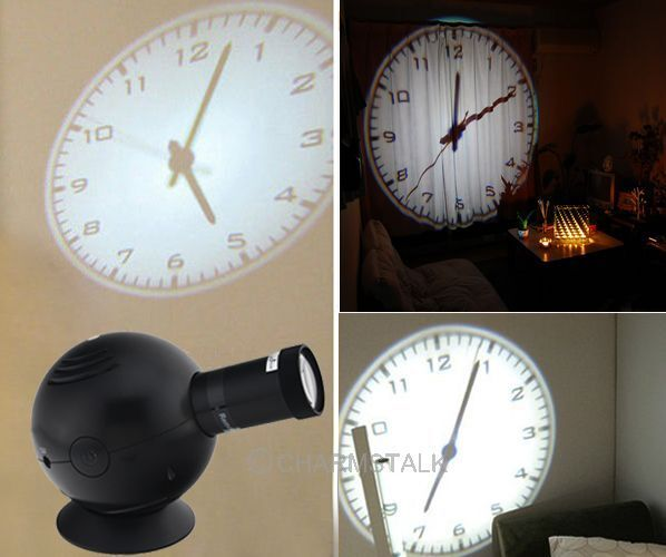 HOT Wall Clock LED Analogue Projection Cold Light Beam Hotel Home Bedroom Decor