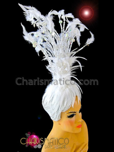 Burlesque styled Small beaded white showgirl/'s cabaret marabou feather headdress