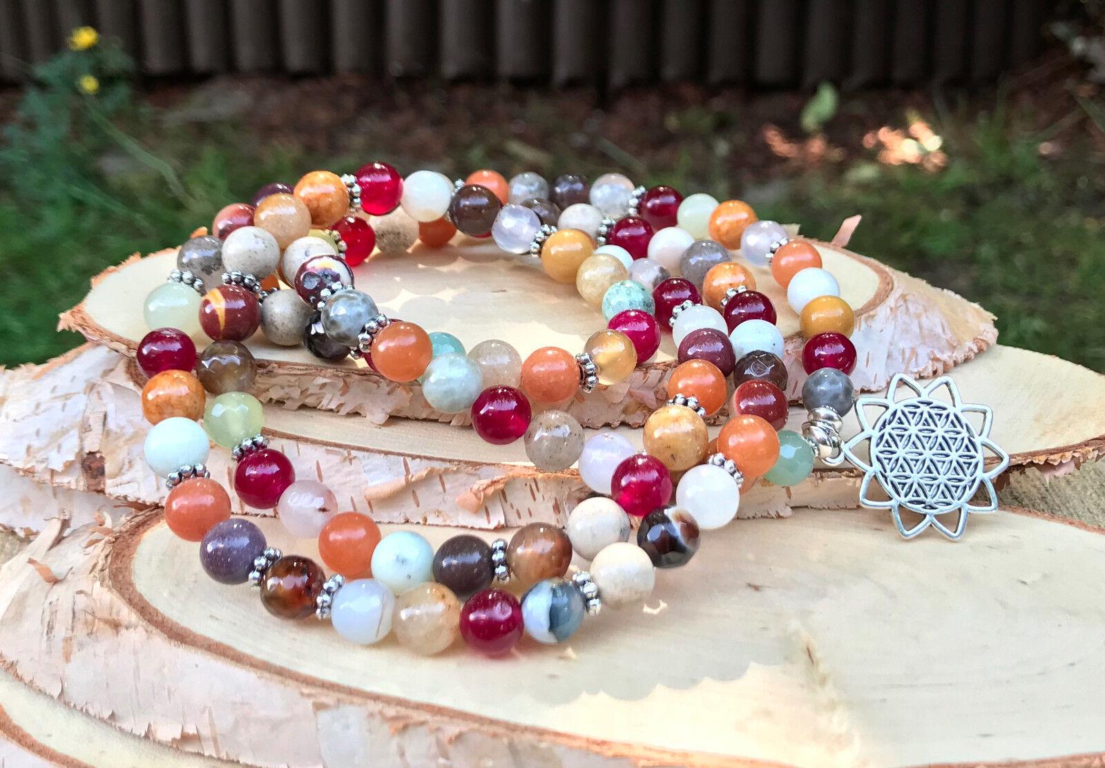 Mala Kette 108 Perlen blueme des Lebens Aventurin Mookait Achat Jade Gebetskette