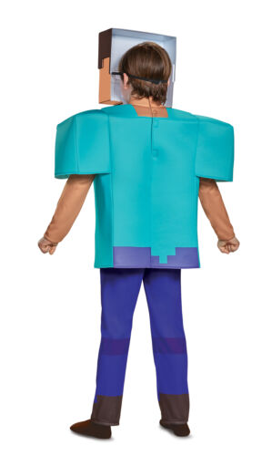 Deluxe Licenced Kids Steve Minecraft Fancy Dress Costume Boys Mojang Game Outfit
