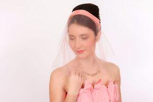 343040100d511 Beautiful 1950s vintage pink headband   veil 50s Wedding Prom bridal ...