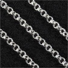 1 m Chaîne pour bijoux Maillon Rond 3 mm en Laiton Plaqué Argent – NORME UE