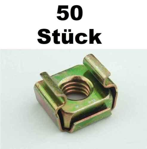 50 St. Käfigmuttern für Stahl Rackschiene Käfigmutter Stahlrack Serverschrank