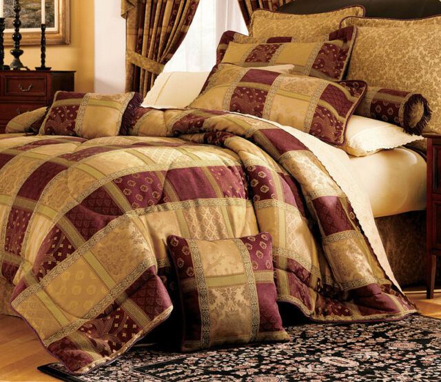 7 Piece Burgundy Jewel Patchwork Comforter Set