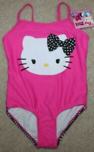 fd06173334 New! Girls Hello Kitty 1 pc Swimsuit (Swim; Polka Dot;Pink/Black ...