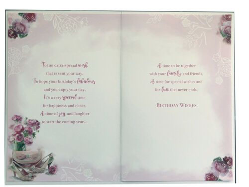 To A Special Mam Flowers Bag /& Shoes Design Birthday Card Lovely Verse