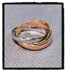 Bague-alliances-3-ors-Plaque-Or-18-Carats-Blanc-rose-Jaune-Bijoux-Homme-Et-Femme