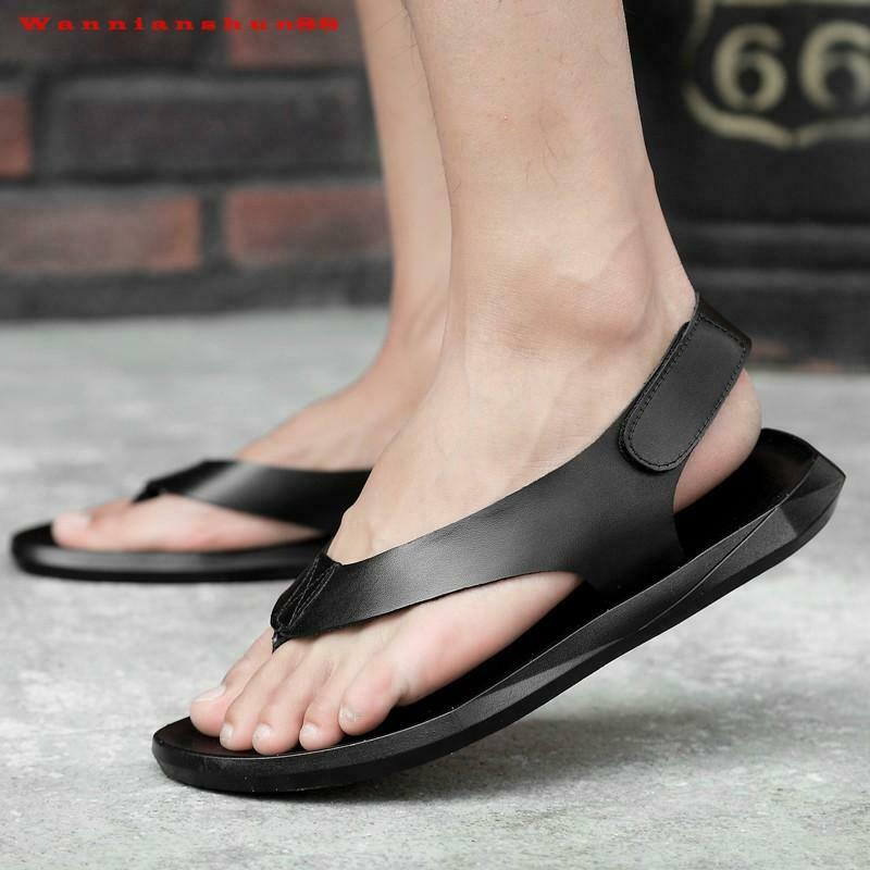 Summer Mens real leather sandals beach casual  flip flops shoes