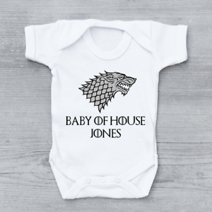 Personalised Game of Thrones Stark GoT Unisex Baby Grow Bodysuit