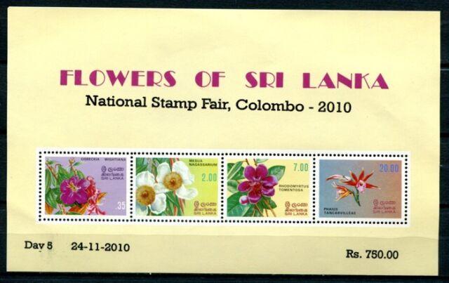 SRI LANKA 2010 Block 18 I  Blumen Aufdruck Colombo ** KW € 40  RAR