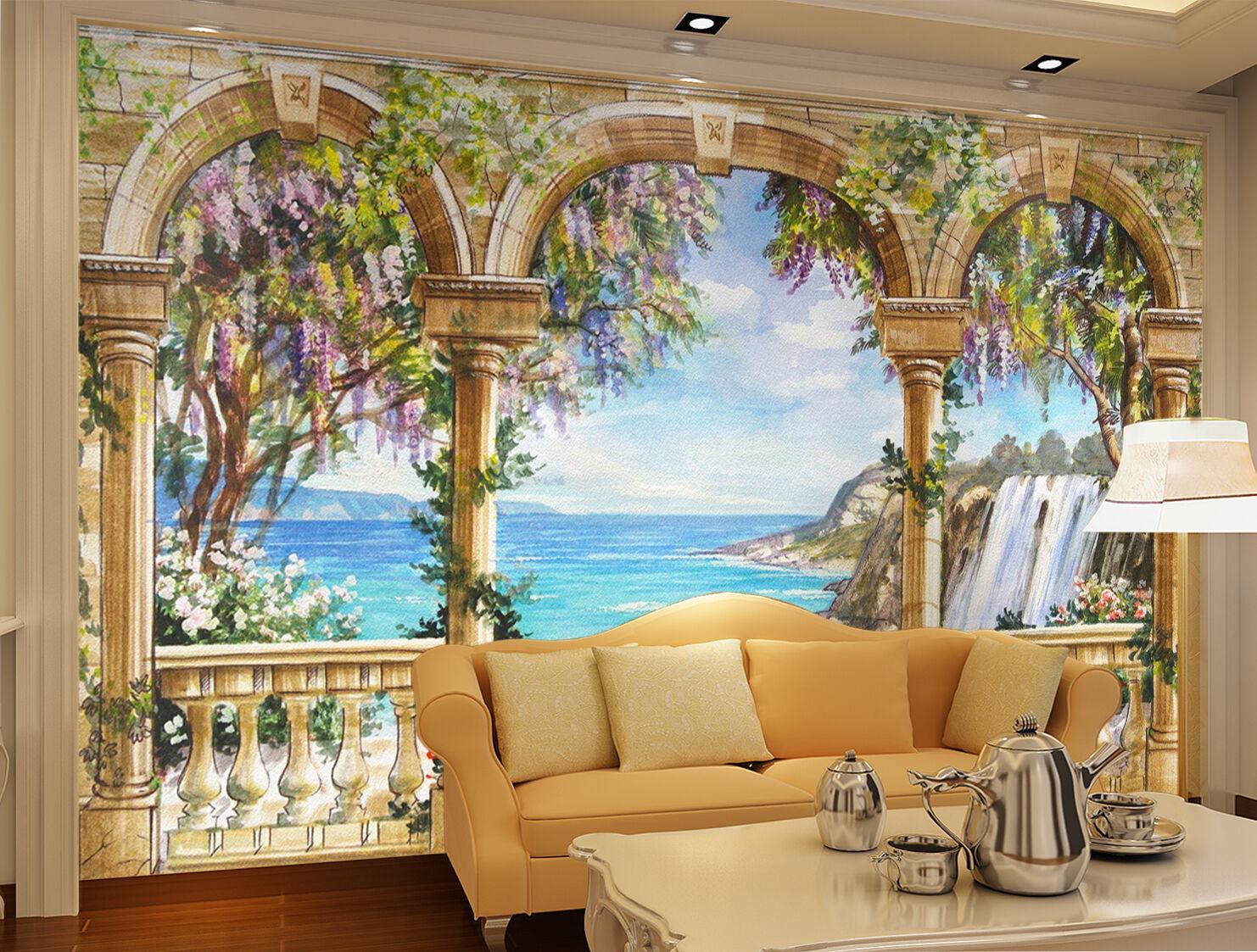 3D Flower Seaside Painting 6213 Wall Paper Wall Print Decal Wall AJ WALLPAPER CA
