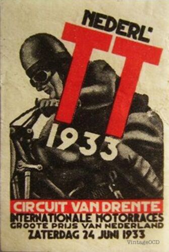 Netherlands TT 1933 VINTAGE MOTORCYCLE POSTER Canvas// Photo// Art Print