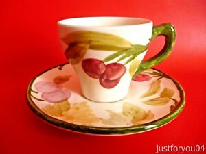 Mason-039-s-Ironstone-Espresso-Fruit-Design-Cup-and-Saucer