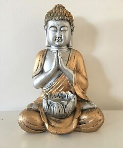 Silver-amp-Gold-Praying-Buddha-Ornament-Figurine-Statue-with-Lotus-Flower-Holder