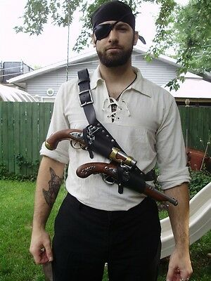Pirate baldric with 2 flintlock holster and optional belt holster, renaissance
