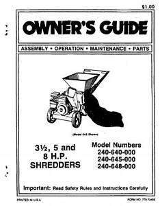 mtd chipper shredder manual model 240 640 645 648 000 ebay Kohler Engine Parts Diagram image is loading mtd chipper shredder manual model 240 640 645