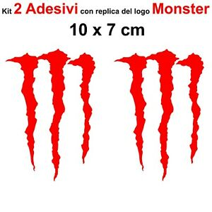 Kit-2-Adesivi-Monster-Graffio-Moto-Stickers-Adesivo-7-x-10-cm-decalcomania-ROSSO
