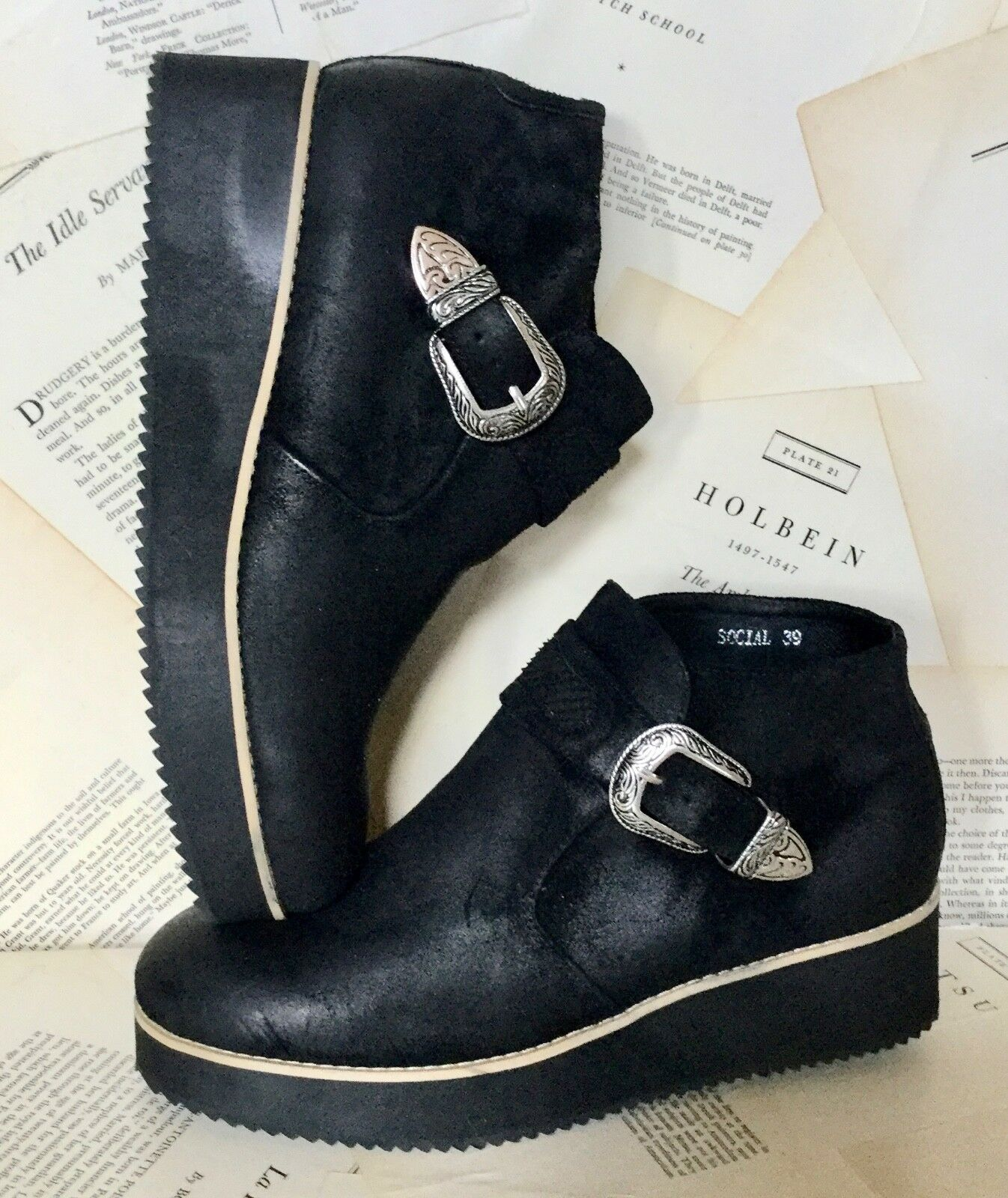 NEW NEW NEW Silent D black Distress Suede  Buckle Bought at Free People Wedge Boot 39 bc0fb3