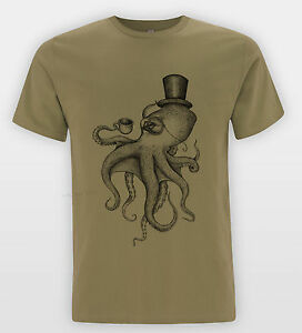 Octopus-Chapeau-Haut-T-SHIRT-MARIN-TATOUAGE-Tee-religion-TIMBRE-Indie-Top