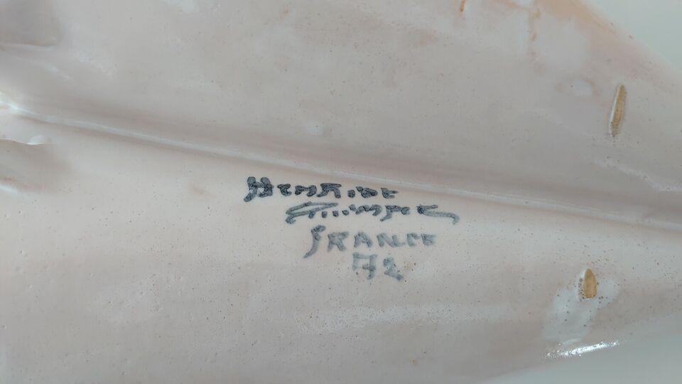 Quimper fransk fajance, dobbelt vægvase samt skål.,