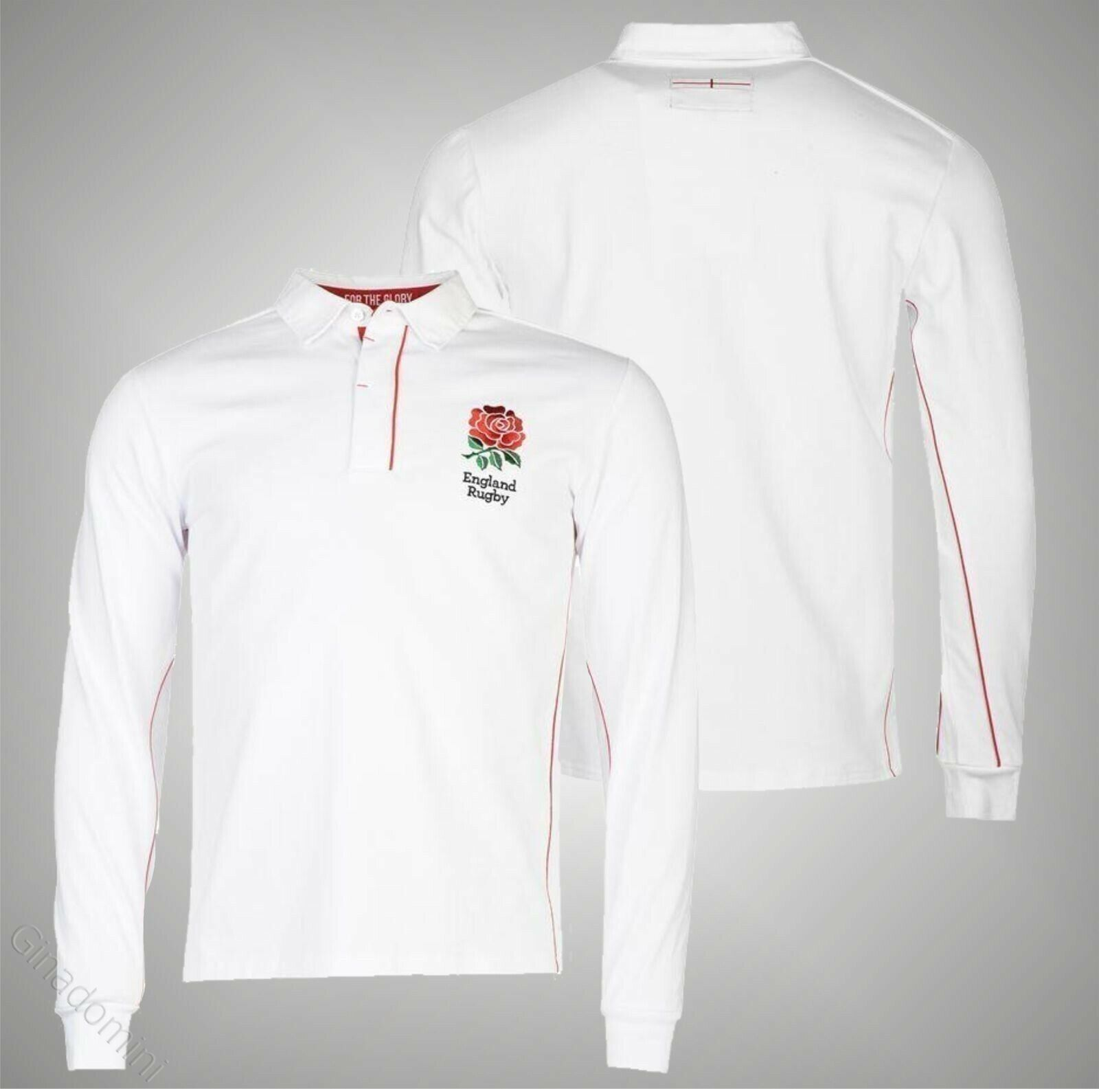 Mens Branded RFU Classic Stylish England Long Sleeve Rugby Jersey Top Size S-3XL