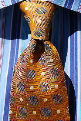 Novia Collection Gentleman's Gold Dotted 100% Woven Silk Necktie Italy