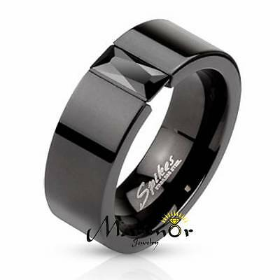 STAINLESS STEEL PRINCESS CUT CZ BLACK IP WEDDING RING BAND UNISEX SIZE 5-14