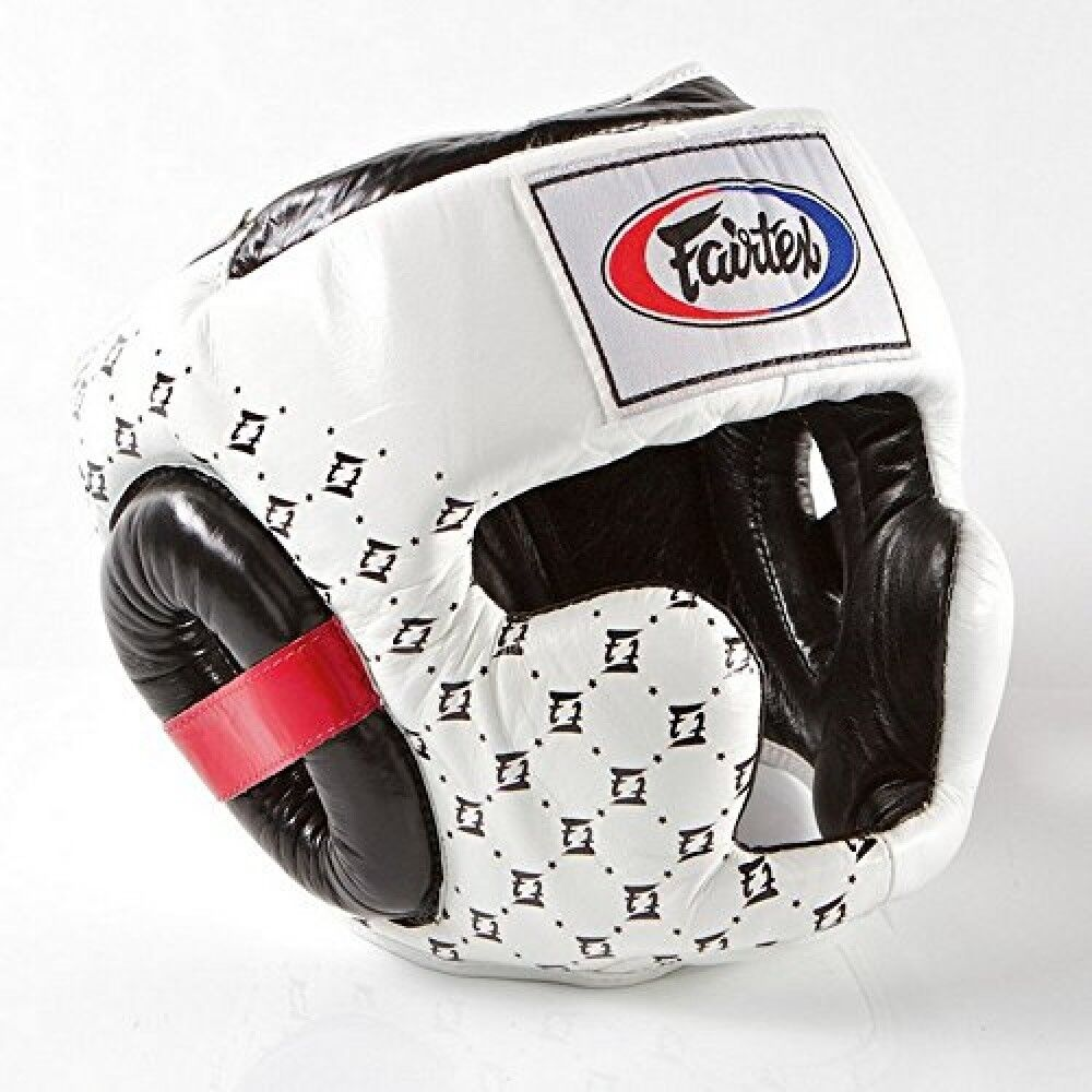 New Fairtex hg 10 Super Sparring Head Guard Safety Training Boxing White Japan