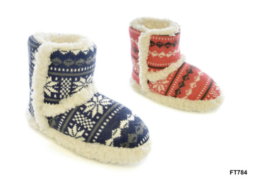 Ladies Girls Knitted cool Snowflake Fleece Boot Slippers Size 3//4 5//6 7//8 ers
