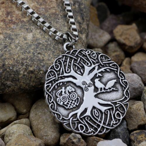 Men/'s Vintage silver Norse VIKING RAVEN /& arbre de vie Odin Collier Pendentif