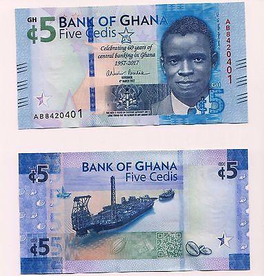 UNC Condition NEW GHANA  5 Cedis  2017  Issue Commemorative Banknote