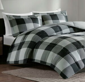 GREY-BLACK-BUFFALO-CHECKS-Full-Queen-COMFORTER-SET-GRAY-CABIN-PLAID-COUNTRY