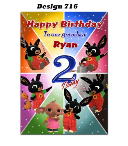 Large Bunny Personalised Birthday card; to Any age name for little or big d628