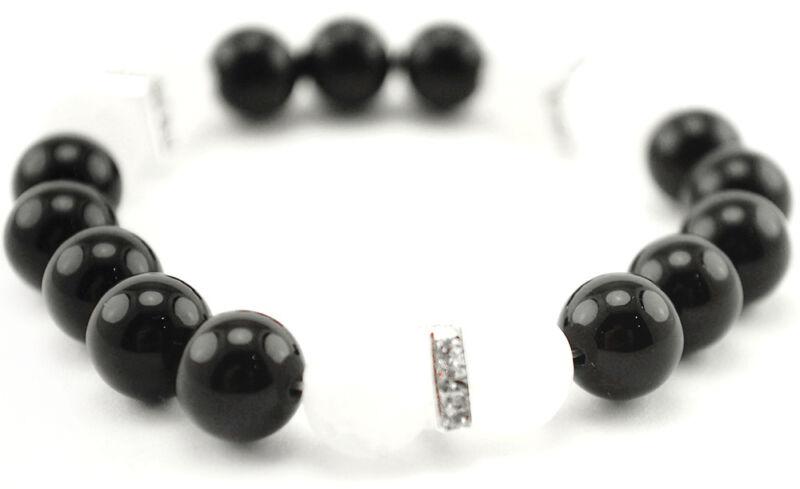 Handmade Semi Precious Stone Bracelet Black White Agate Stone Beads Valentine's