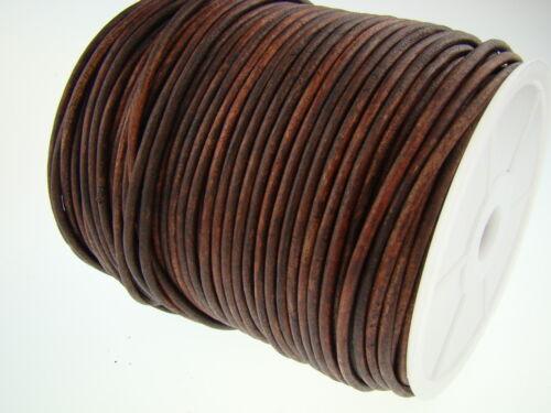 desde 0,48€// M Antiguo Braun Lederband Cordón de Cuero Largo Redondo 3Mm