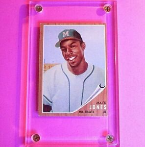 1962 Topps #186 Mack Jones, Rare GREEN TINT, Ex  Braves