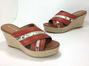 852798f8fd6 Details about New $150 Coach Florentine sz 8.5 Saddle Tan Carmine Red  Espadrille Wedge Sandals