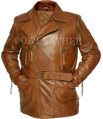 Mens Brown 3//4 Motorcycle Biker Long Cow Hide Leather Jacket